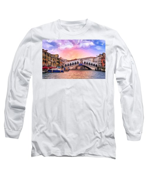 Dawn Light At Rialto Bridge Long Sleeve T-Shirt
