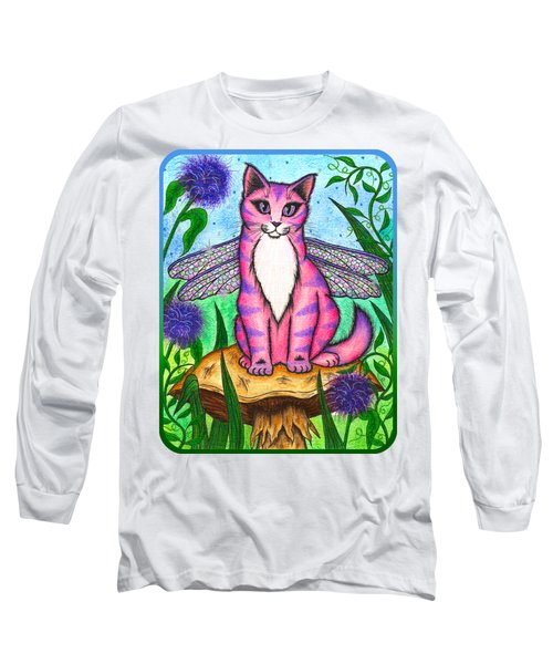 Long Sleeve T-Shirt featuring the painting Dea Dragonfly Fairy Cat by Carrie Hawks