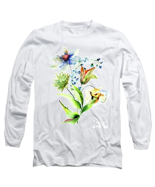 Decorative Flowers Long Sleeve T-Shirt