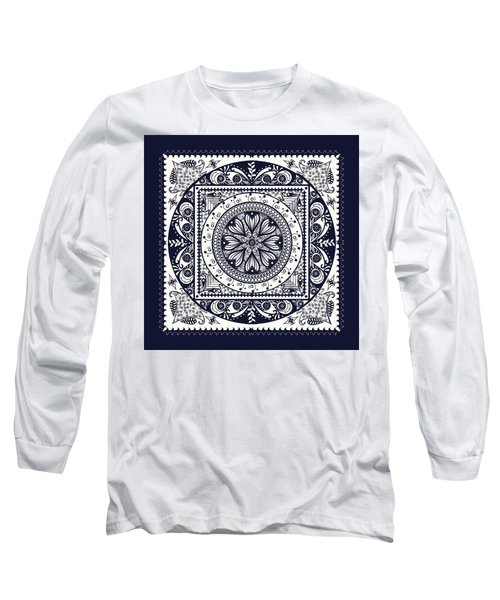 Deep Blue Classic Mandala Long Sleeve T-Shirt by Deborah Smith