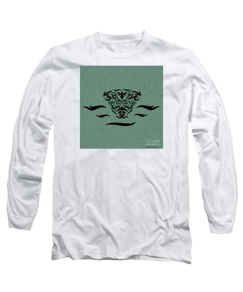 Long Sleeve T-Shirt featuring the digital art Deep Green Tribal Gator by Megan Dirsa-DuBois