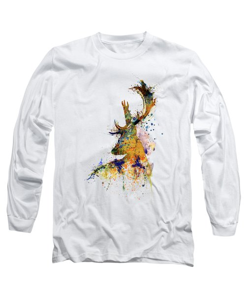 Deer Head Watercolor Silhouette Long Sleeve T-Shirt