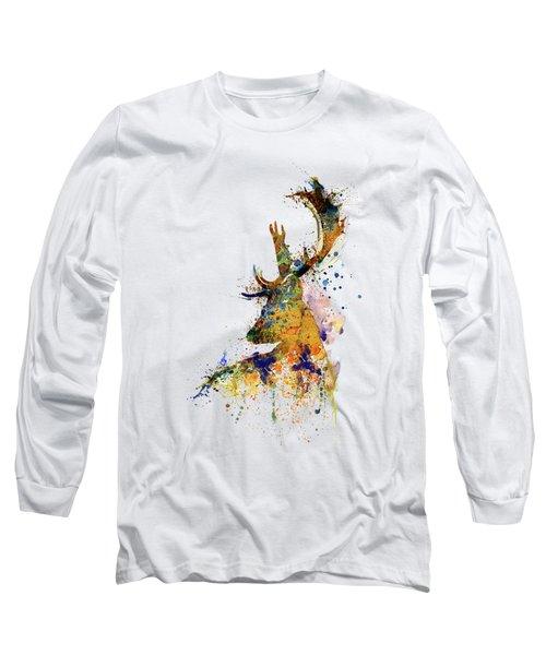 Deer Head Watercolor Silhouette Long Sleeve T-Shirt