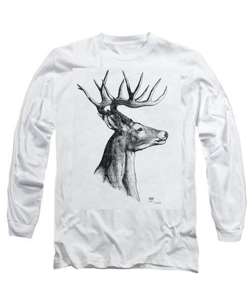 Long Sleeve T-Shirt featuring the drawing Deer by Michael  TMAD Finney
