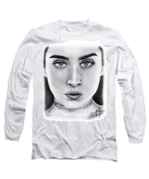 Lauren Jauregui Drawing By Sofia Furniel  Long Sleeve T-Shirt