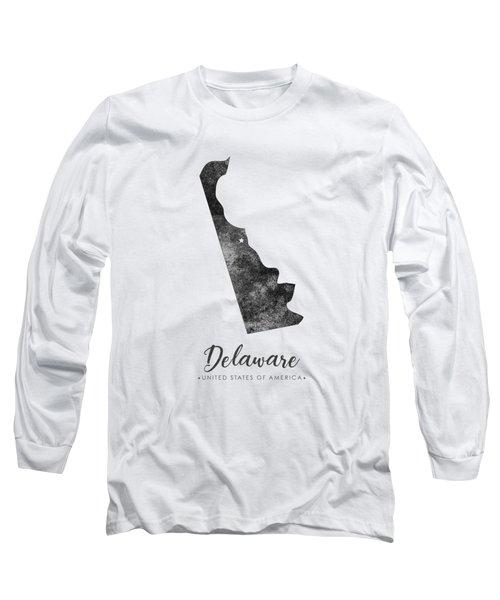 Delaware State Map Art - Grunge Silhouette Long Sleeve T-Shirt
