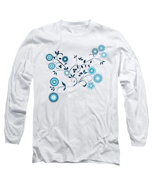 Delft Floral Pattern Long Sleeve T-Shirt by Methune Hively