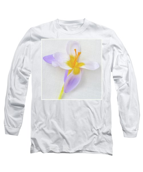 Long Sleeve T-Shirt featuring the photograph Delicate Art Of Crocus by Terence Davis