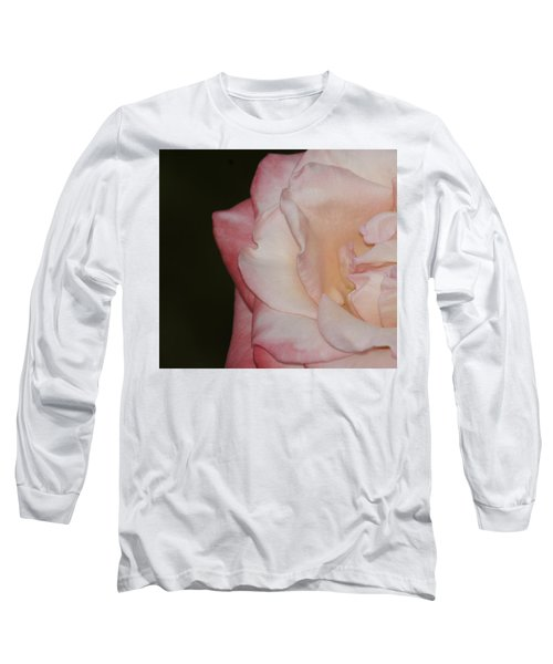 Delicate Pink Rose Long Sleeve T-Shirt by Debra Crank