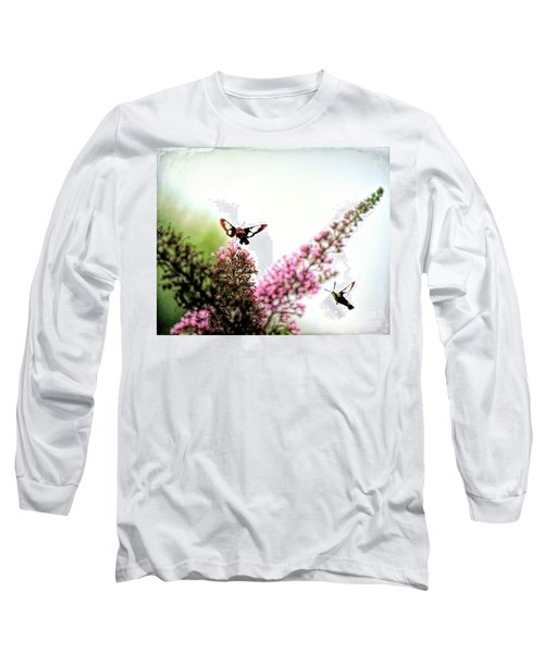 Long Sleeve T-Shirt featuring the photograph Delight And Joy - Hummingbird Moths In Flight by Kerri Farley