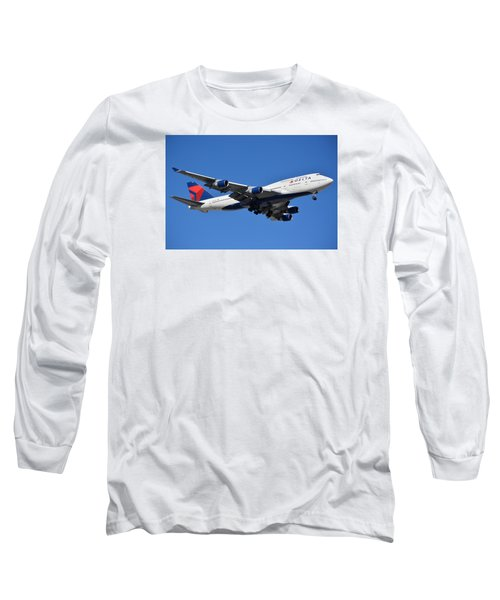Delta Boeing 747-451 N662us Phoenix Sky Harbor January 12 2015 Long Sleeve T-Shirt by Brian Lockett