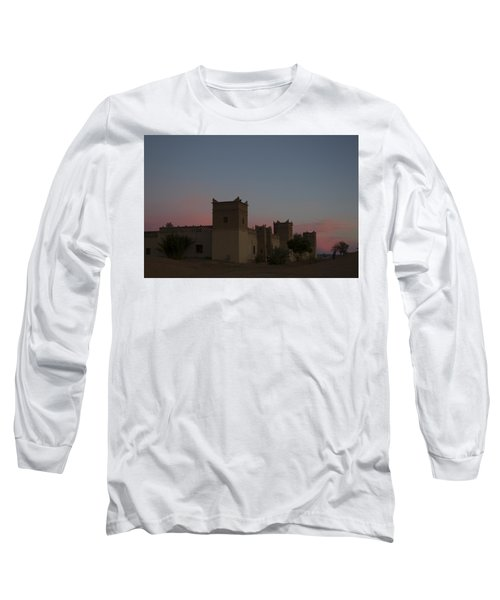 Long Sleeve T-Shirt featuring the tapestry - textile Desert Kasbah Morocco 2 by Kathy Adams Clark