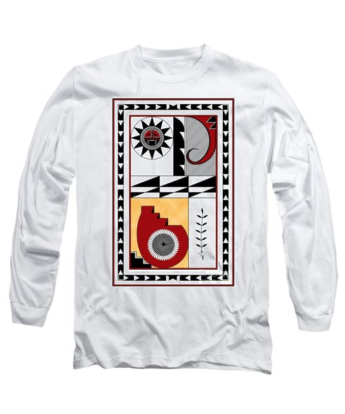 Southwest Collection - Design Five In Red Long Sleeve T-Shirt