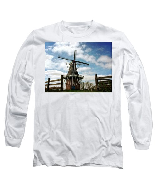 Long Sleeve T-Shirt featuring the photograph Dezwaan Windmill With Fence And Clouds by Michelle Calkins