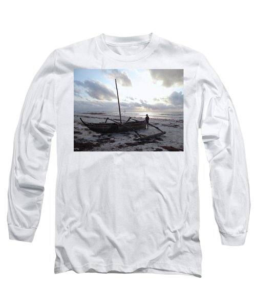 Dhow Wooden Boats At Sunrise With Fisherman Long Sleeve T-Shirt
