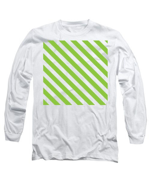 Diagonal Green Stripes Long Sleeve T-Shirt