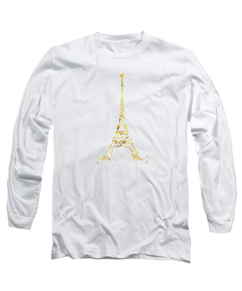 Digital-art Eiffel Tower - White And Golden Long Sleeve T-Shirt by Melanie Viola