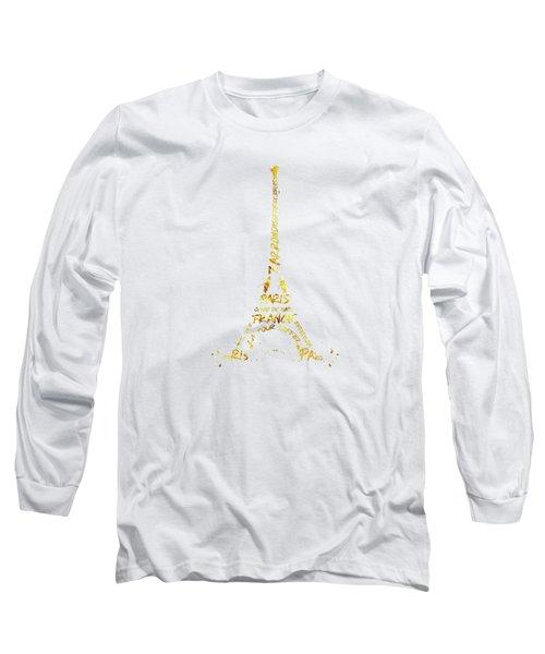 Digital-art Eiffel Tower - White And Golden Long Sleeve T-Shirt