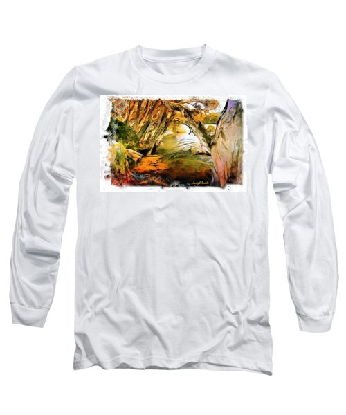 Long Sleeve T-Shirt featuring the photograph Do-00268 Trees On Water In Avoca Estuary by Digital Oil