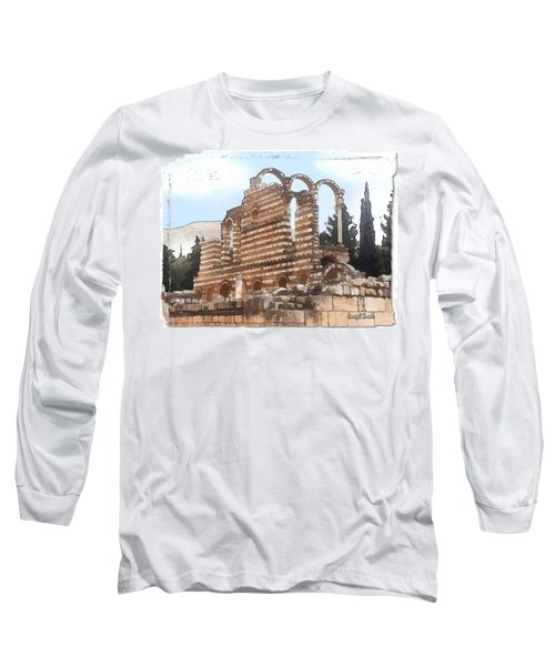 Do-00302 Ruins In Anjar Long Sleeve T-Shirt by Digital Oil