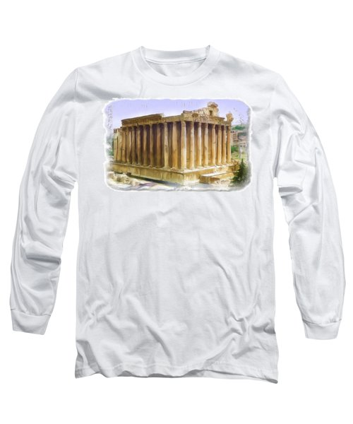 Do-00312 Temple Of Bacchus In Baalbeck Long Sleeve T-Shirt by Digital Oil