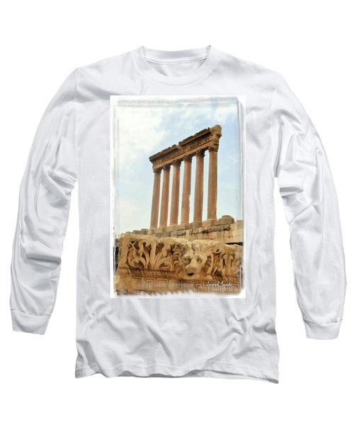 Do-00314 The 6 Corinthian Columns In Baalbeck Long Sleeve T-Shirt by Digital Oil
