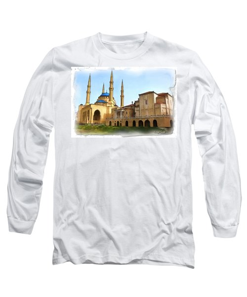 Long Sleeve T-Shirt featuring the photograph Do-00362al Amin Mosque And St George Maronite Cathedral by Digital Oil