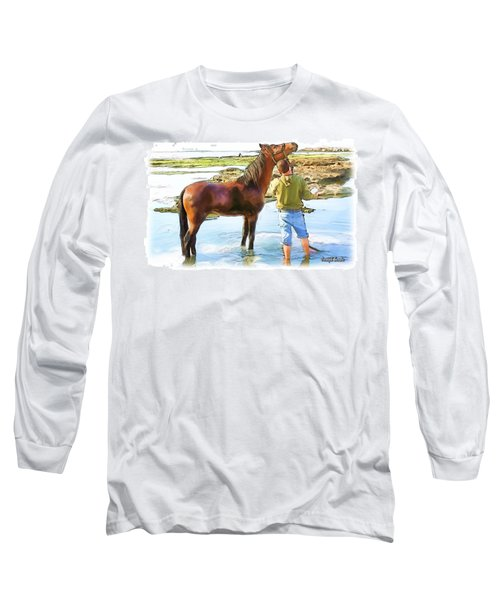 Do-00421 Washing Horse In Mina Long Sleeve T-Shirt by Digital Oil