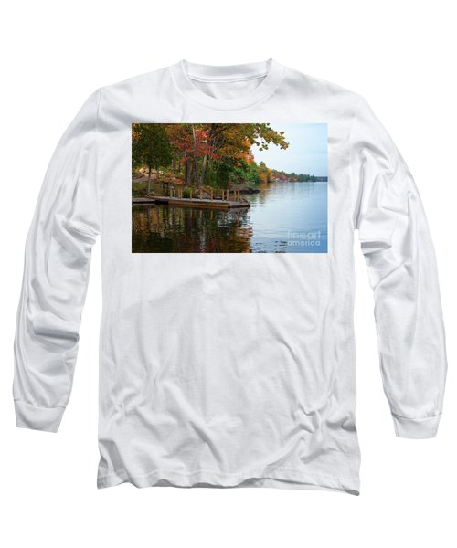 Dock On Lake In Fall Long Sleeve T-Shirt