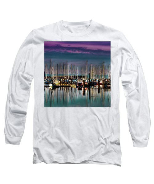 Docked Sailboats Long Sleeve T-Shirt by David Patterson