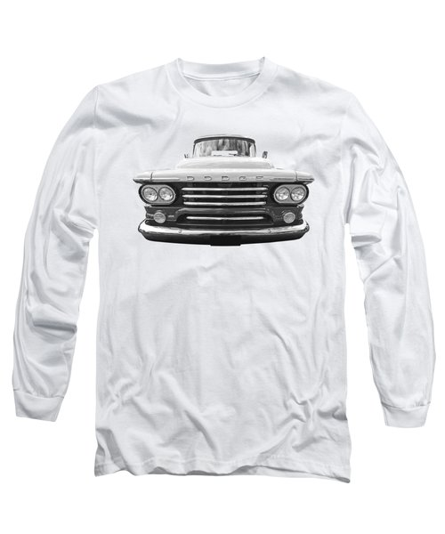 Dodge D100 Sweptside 1958 In Black And White Long Sleeve T-Shirt