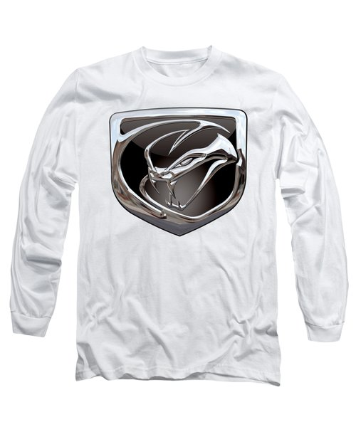 Dodge Viper 3 D  Badge Special Edition On White Long Sleeve T-Shirt by Serge Averbukh