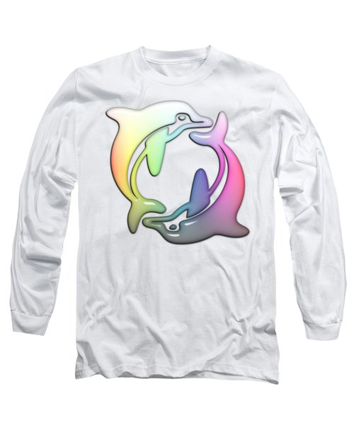 Dolphin Dance Soft Rainbow Drops Long Sleeve T-Shirt by Di Designs