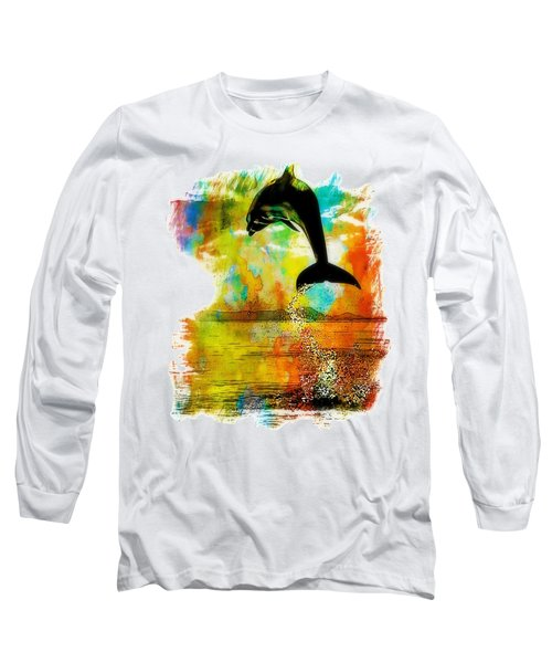 Dolphin Sunset Long Sleeve T-Shirt by Kevin Moore