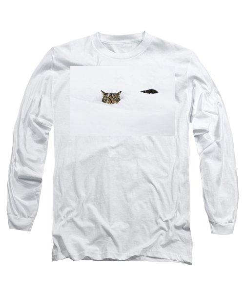 Domestic Cat Felis Catus In Deep Snow Long Sleeve T-Shirt