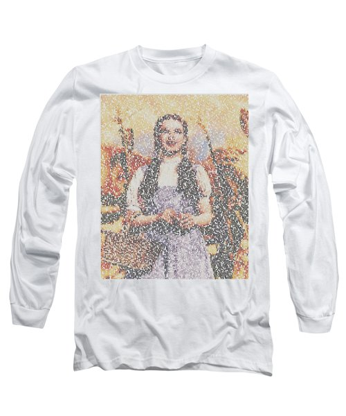 Long Sleeve T-Shirt featuring the mixed media Dorothy Made Of Wizard Of Oz Quotes by Paul Van Scott