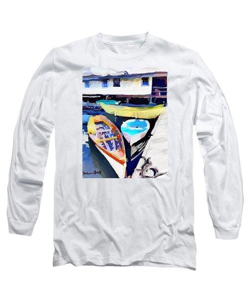 Dory Dock At Beacon Marine Basin - East Gloucester, Ma Long Sleeve T-Shirt