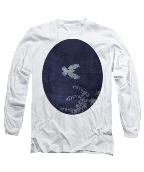 Dove In Flight Indigo Oval Long Sleeve T-Shirt