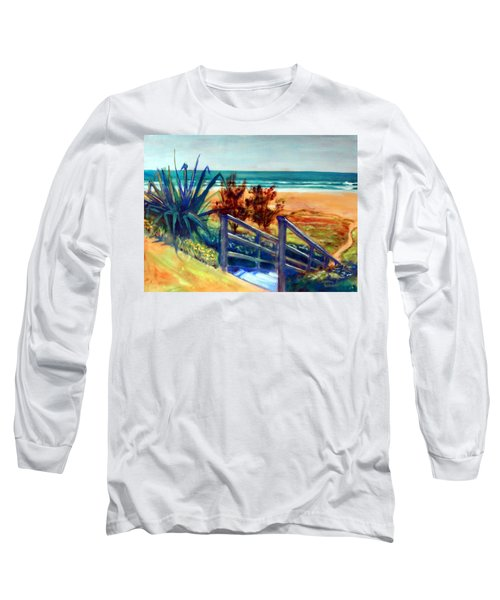 Long Sleeve T-Shirt featuring the painting Down The Stairs To The Beach by Winsome Gunning