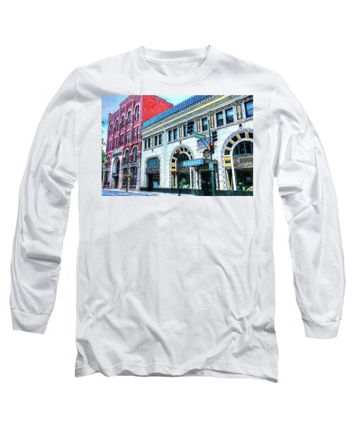 Downtown Asheville City Street Scene Painted  Long Sleeve T-Shirt