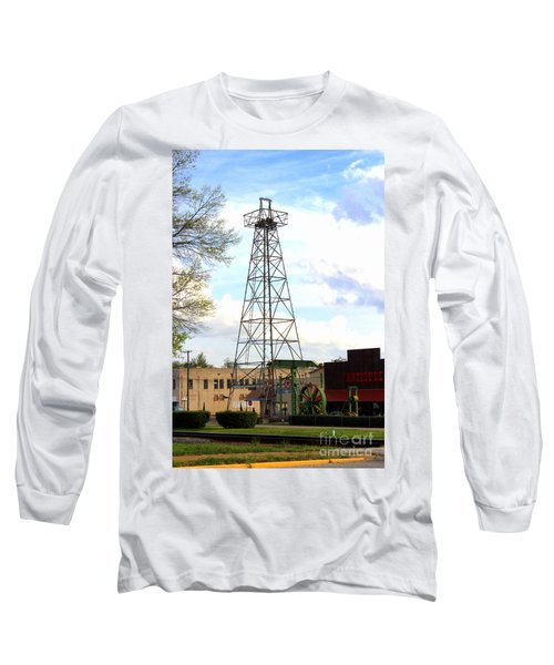Downtown Gladewater Oil Derrick Long Sleeve T-Shirt