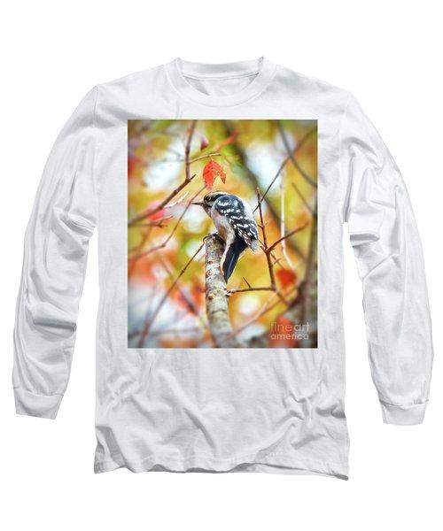Downy Woodpecker In Autumn Forest Long Sleeve T-Shirt by Kerri Farley