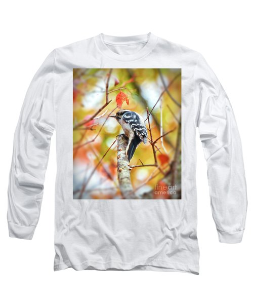 Downy Woodpecker In Autumn Forest Long Sleeve T-Shirt