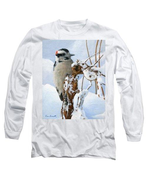 Downy Woodpecker  Long Sleeve T-Shirt by Ken Everett