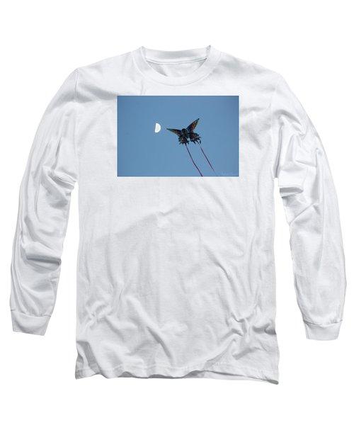 Dragonfly Chasing The Moon Long Sleeve T-Shirt by Robert Banach