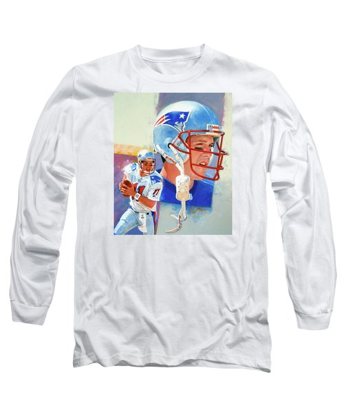 Long Sleeve T-Shirt featuring the painting Drew Bledsoe by Cliff Spohn