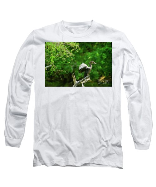 Drying Indian Cormorant Long Sleeve T-Shirt