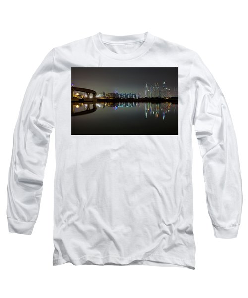Dubai City Skyline Night Time Reflection Long Sleeve T-Shirt