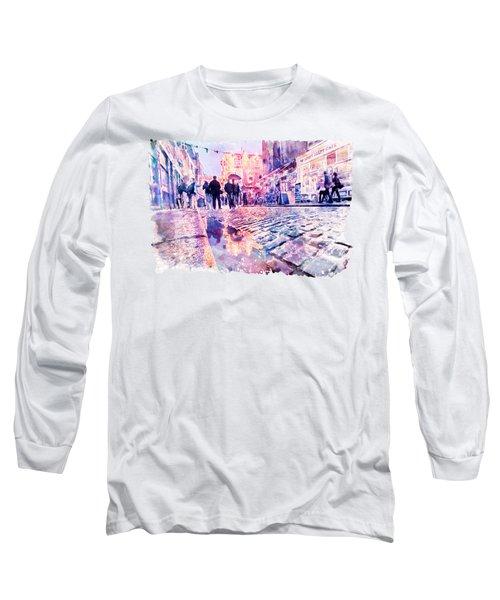 Dublin Watercolor Streetscape Long Sleeve T-Shirt by Marian Voicu