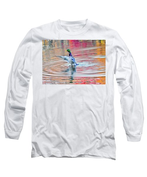 Duck On An Autumn Pond In The Chesapeake Bay Maryland Long Sleeve T-Shirt